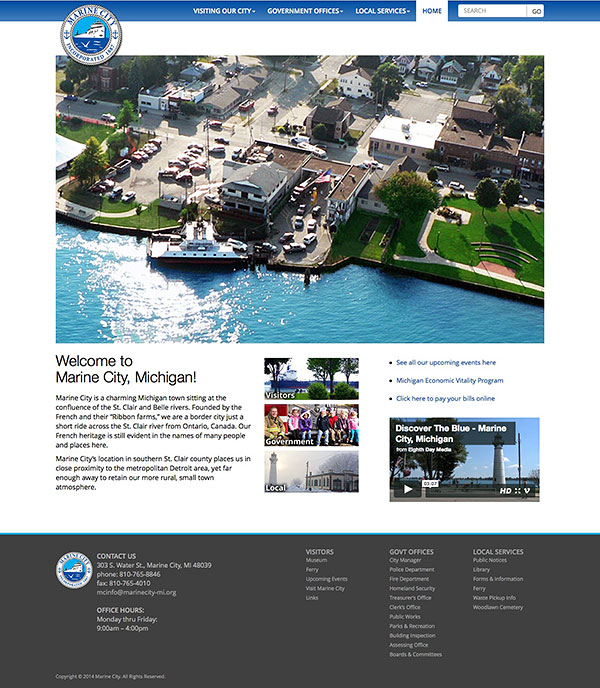 City of Marine City, Michigan Responsive Web Site