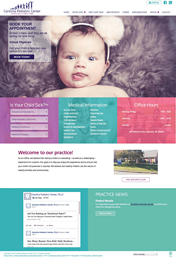Carolina Pediatric Center Responsive Web Site