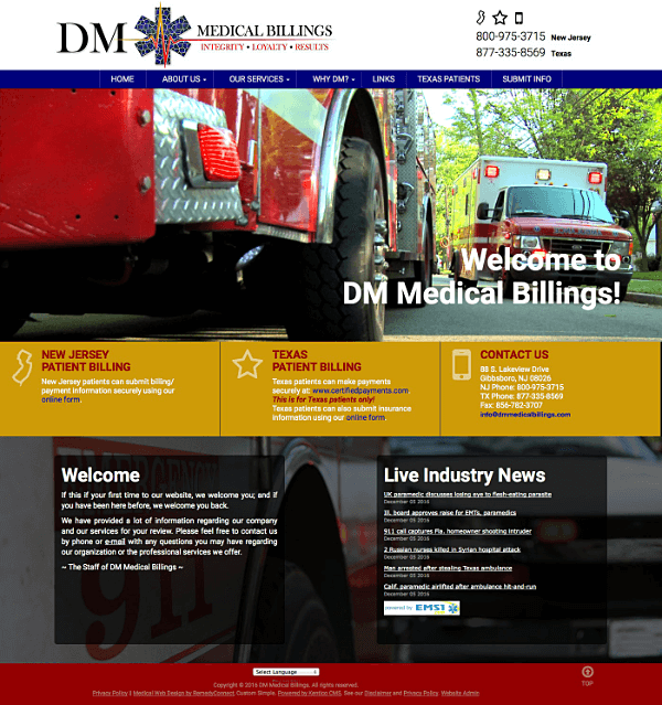 DM Medical Billings Responsive Web Site