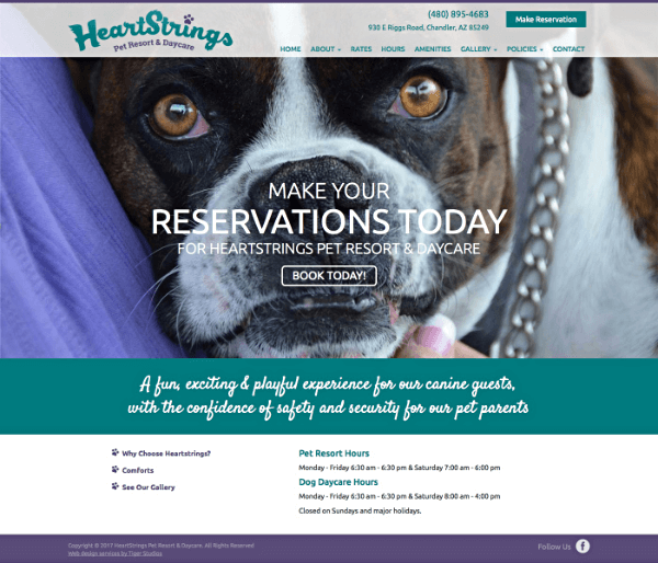 HeartStrings Pet Resort Responsive Web Site