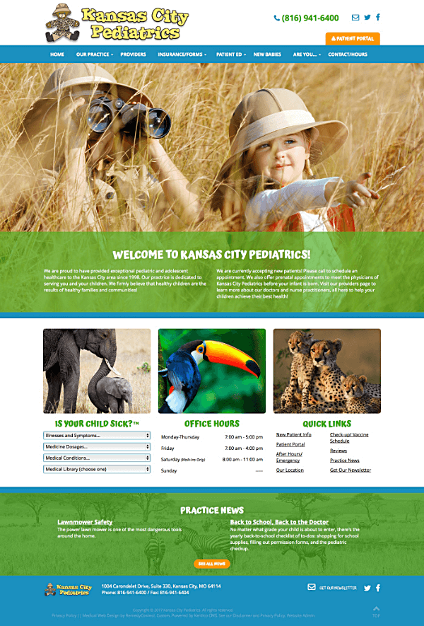 Kansas City Pediatrics Responsive Web Site