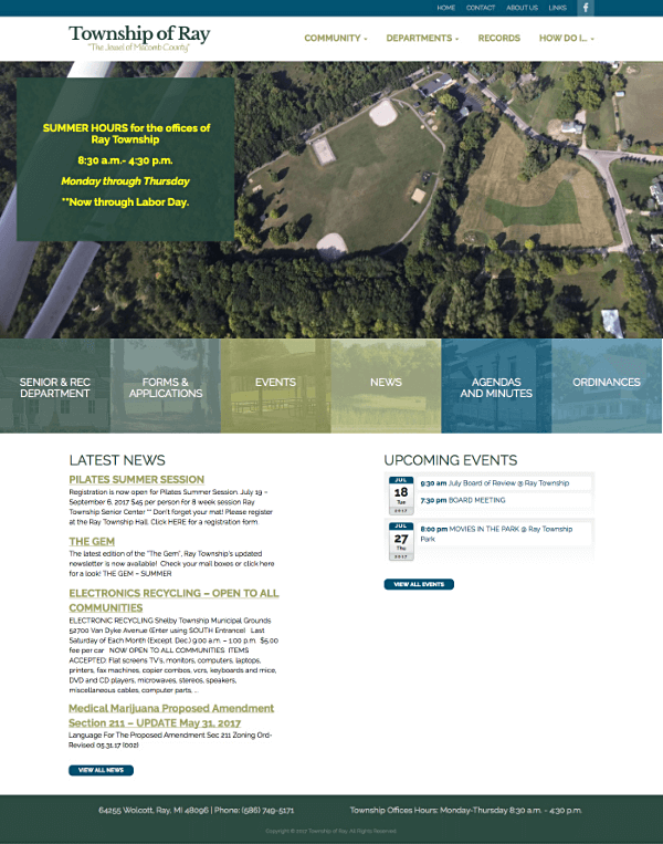 Township of Ray, Michigan Responsive Web Site