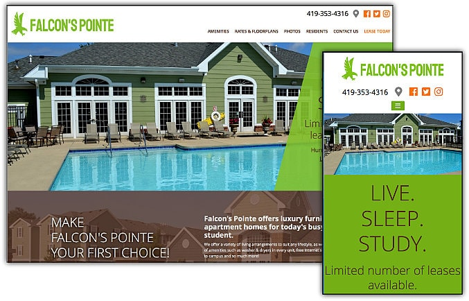 Falcon's Pointe Apartments web site design & development